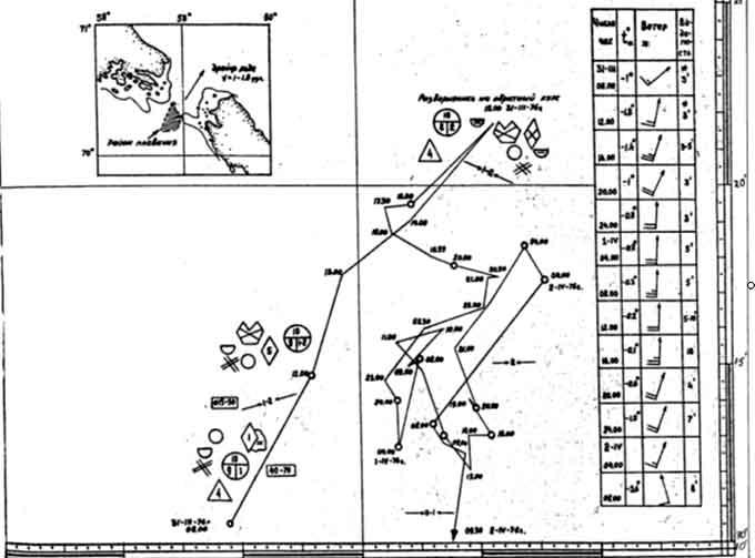 Карта плавания а/л «Ленин» в
